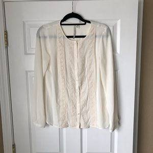 LC Lauren Conrad cream crochet lace button blouse